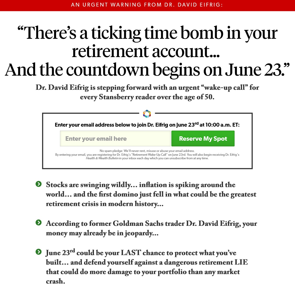 Retirement Wake-up Call Event with Dr. David Eifrig