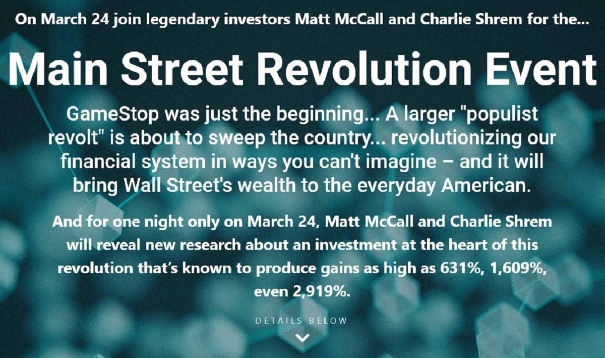 Matt McCall Main Street Revolution Event